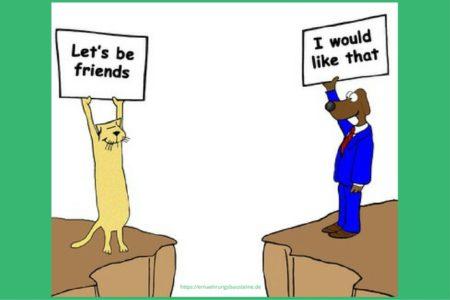 Katz und Hund als Freunde